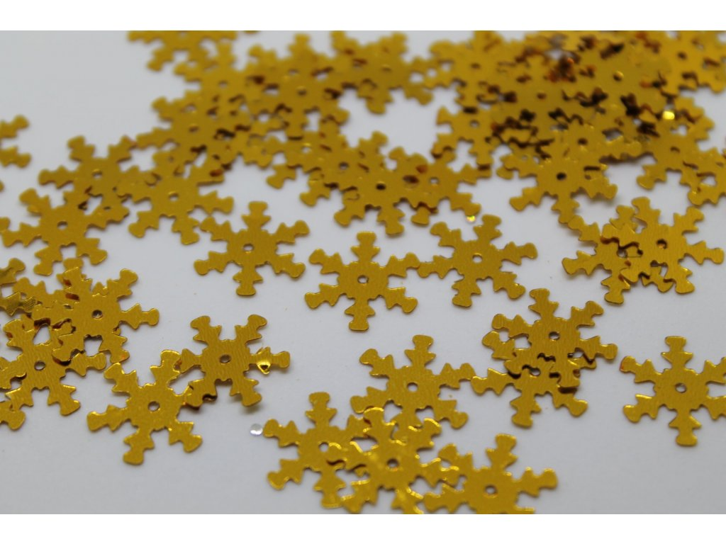 Flitre vločky zlaté 15mm/5g