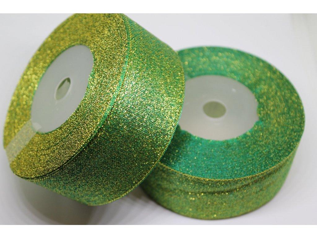 Brokátová stuha 38mm smaragdová zelená so zlatým brokátom