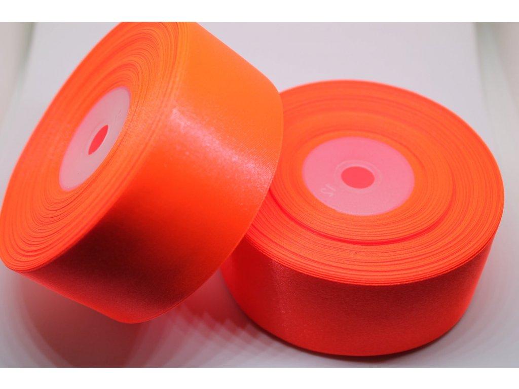 Saténová stuha 38mm A051 neónová oranžová