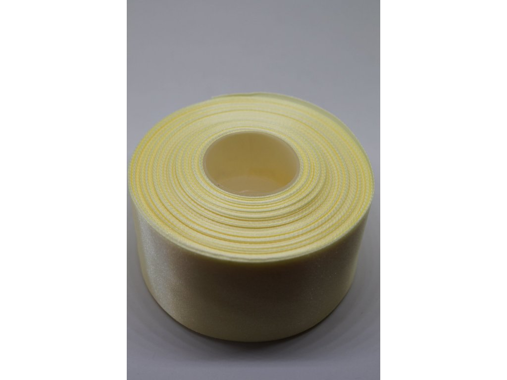Saténová stuha 50mm A073 smotanovo žltá