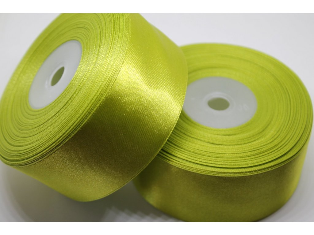 Saténová stuha 38mm A025 žiarivá zelená