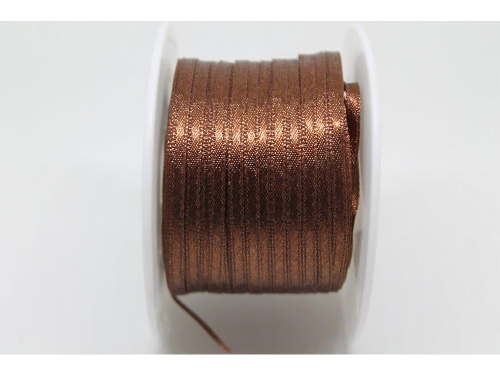 Saténová stuha 3,5mm A039 čokoládovo hnedá