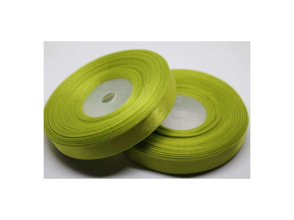 Saténová stuha 12mm A025 žiarivá zelená