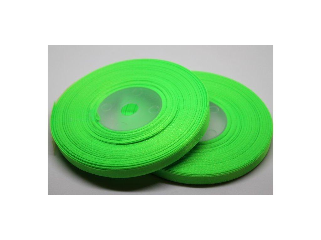 Saténová stuha 6mm A052 neónová zelená