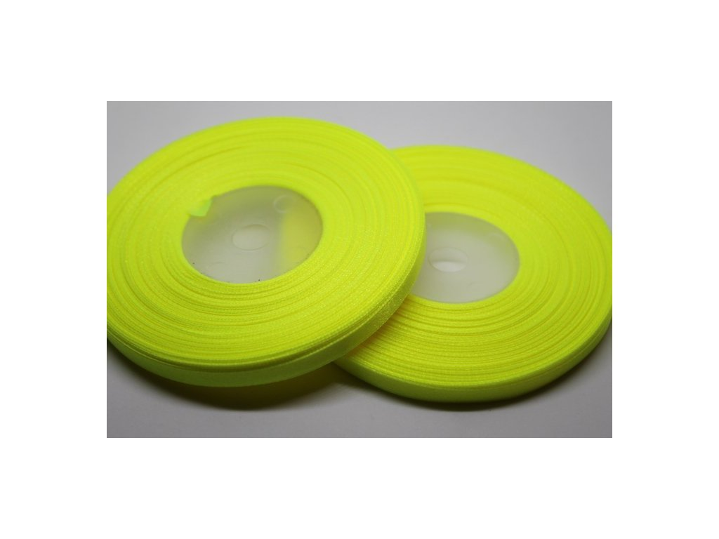 Saténová stuha 6mm A049 neónová žltá