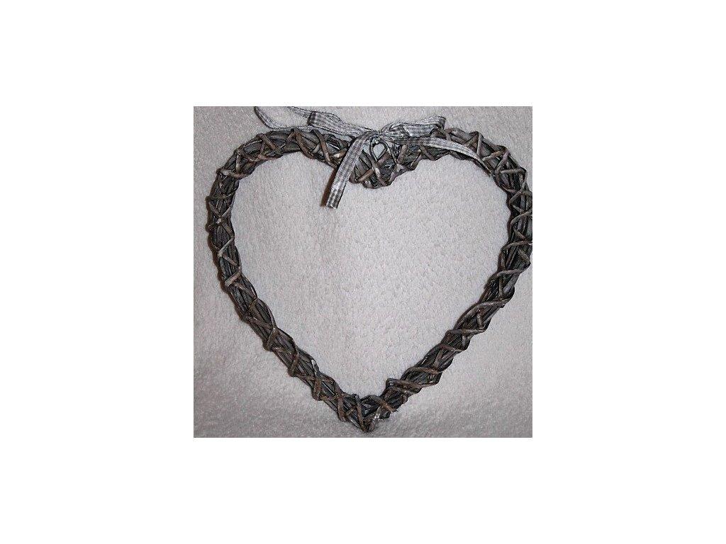 Prútené srdce šedé so stuhou 25cm