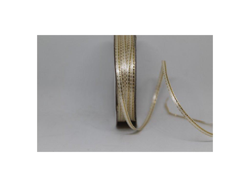 Saténová stuha 3mm/45m ivory so zlatým lemom
