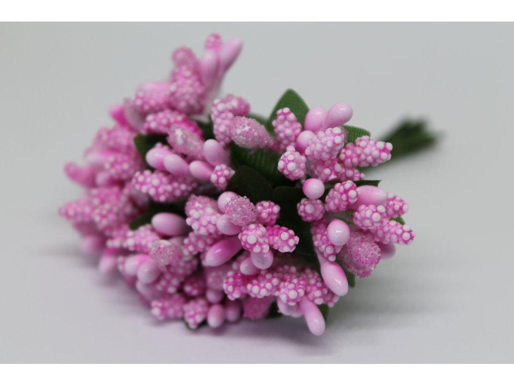 Tyčinky do kvetín s brokátom a zelenými lístkami 040