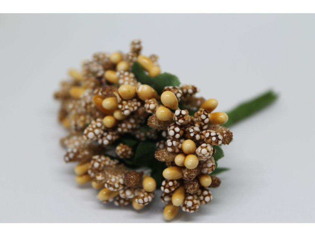 Tyčinky do kvetín s brokátom a zelenými lístkami 100