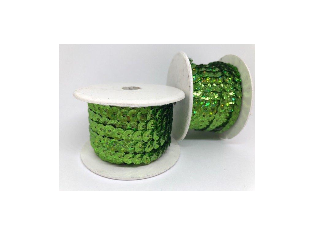 Flitre na šnúre 6mm/9,14m žiarivé zelené s hologramom