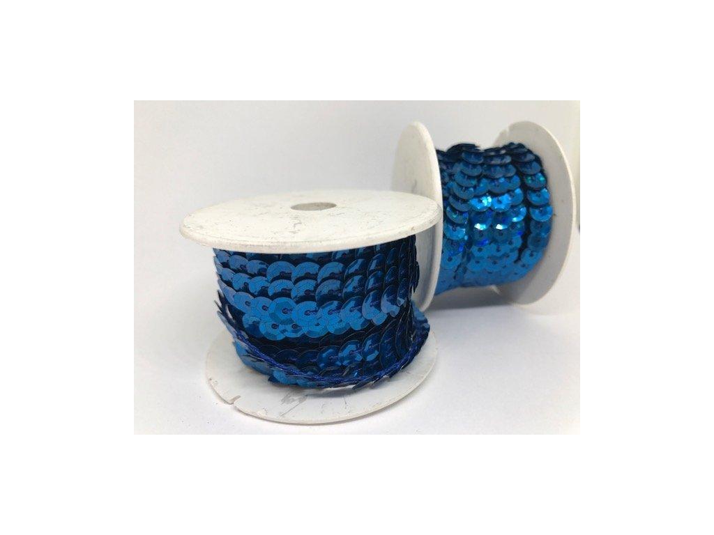 Flitre na šnúre 6mm/9,14m modré s hologramom
