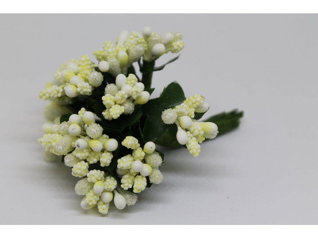 Tyčinky do kvetín s brokátom a zelenými lístkami 010