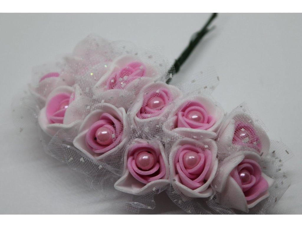Penové ružičky bielo-fuksiové s perličkou a tylom