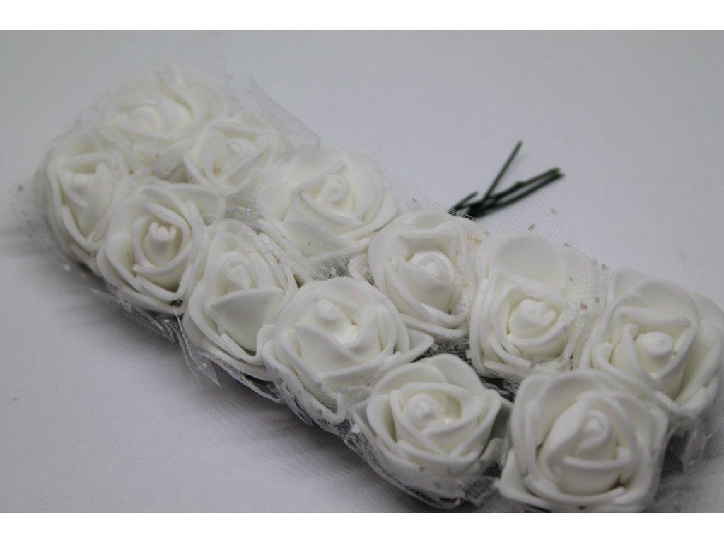 Penové ružičky biele s tylom