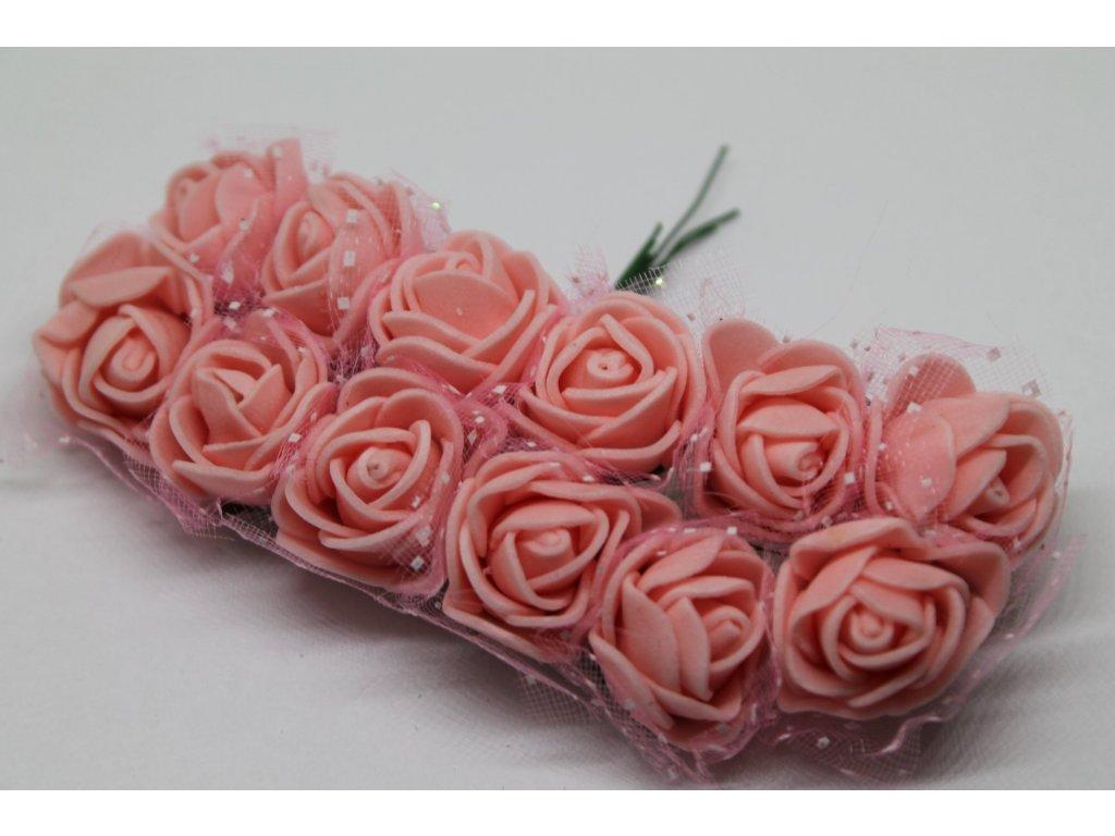 Penové ružičky pudrovo ružové s tylom