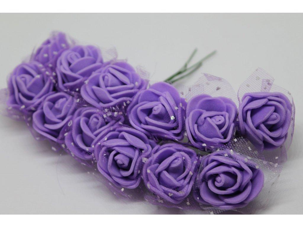 Penové ružičky fialové s tylom