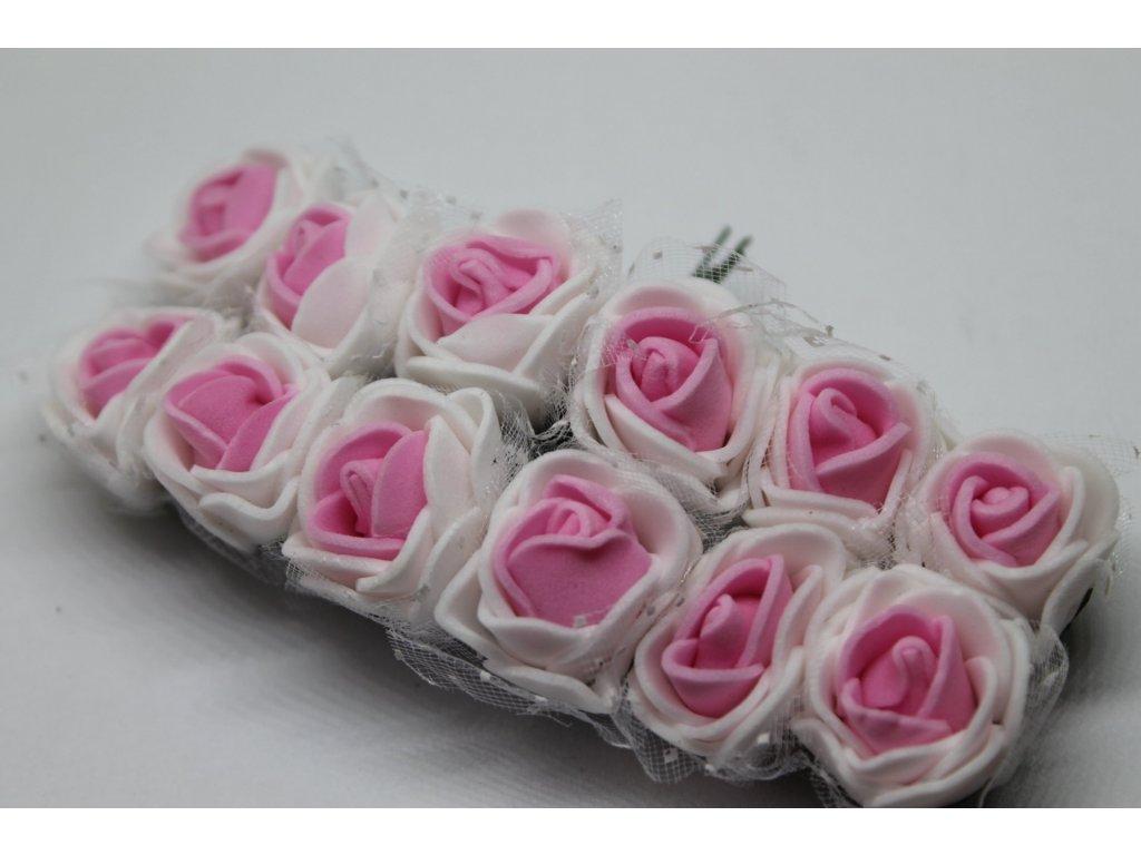 Penové ružičky bielo-ružové s tylom