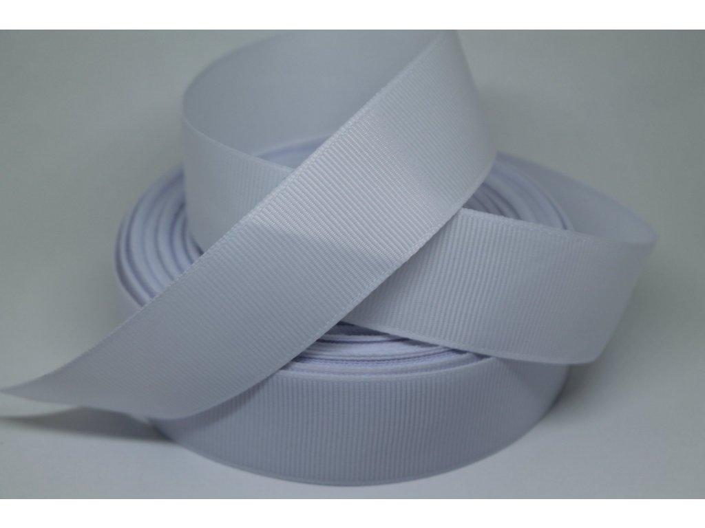 Rypsová stuha 25mm biela 001