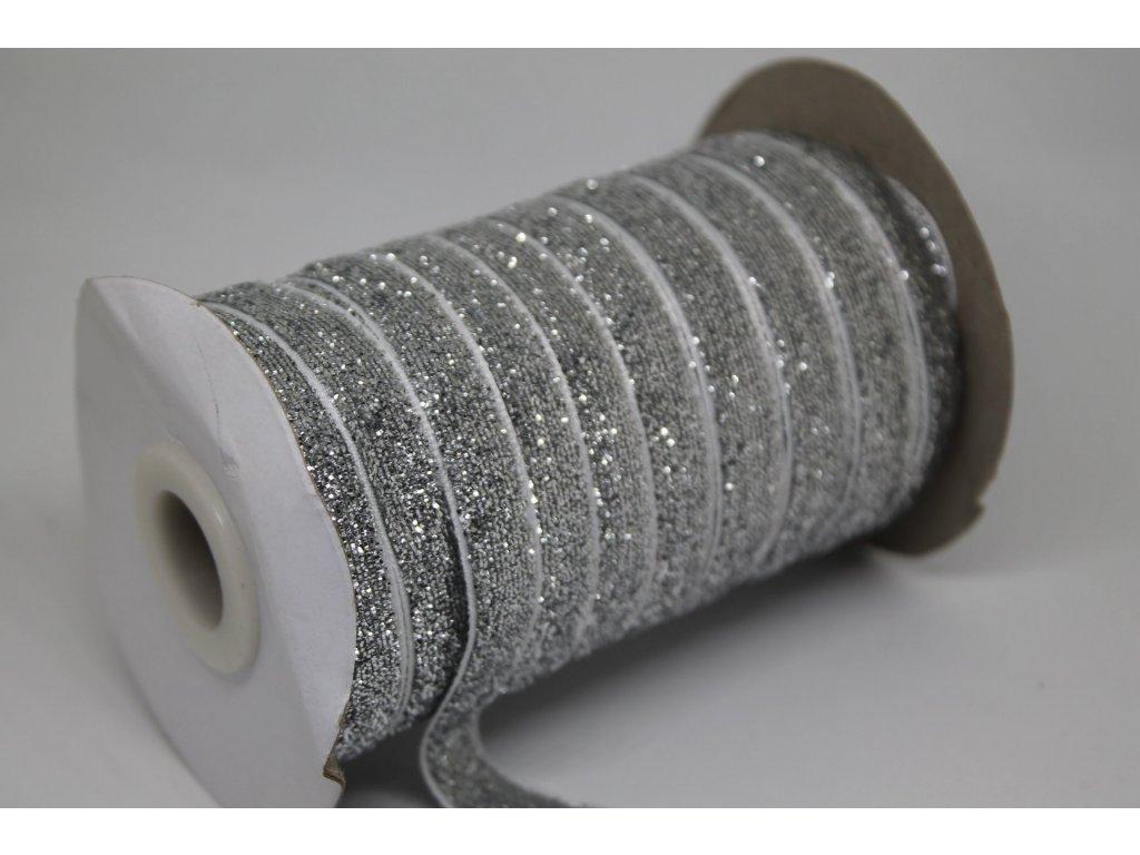 Zamatová stuha s lurexom 10mm strieborná
