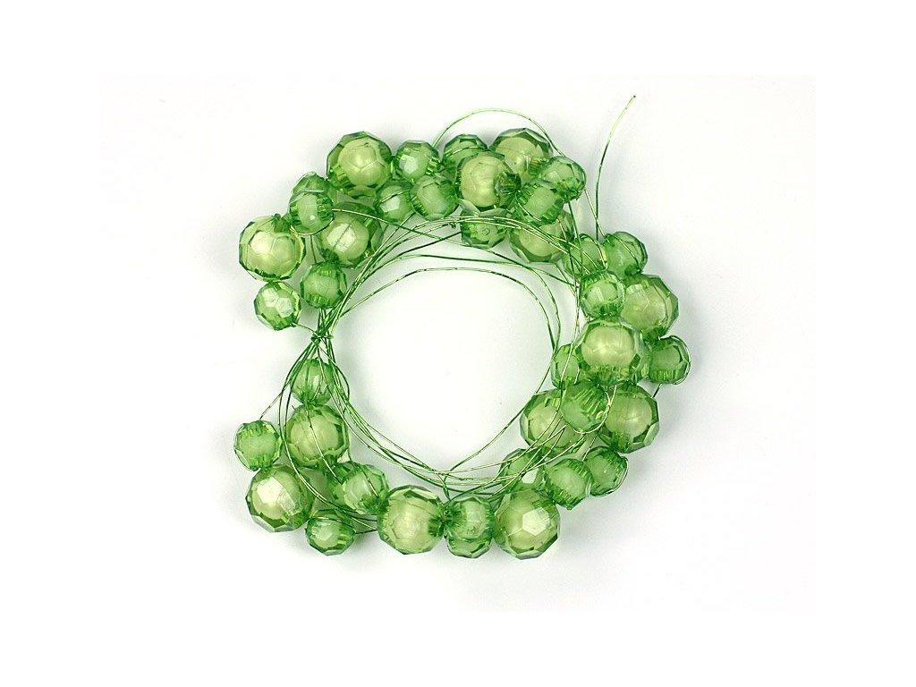 Girlanda s akrylovými perličkami na drôtiku 1,8m zelená