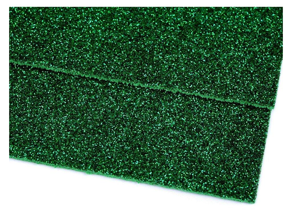 Machová guma glitrová zelená