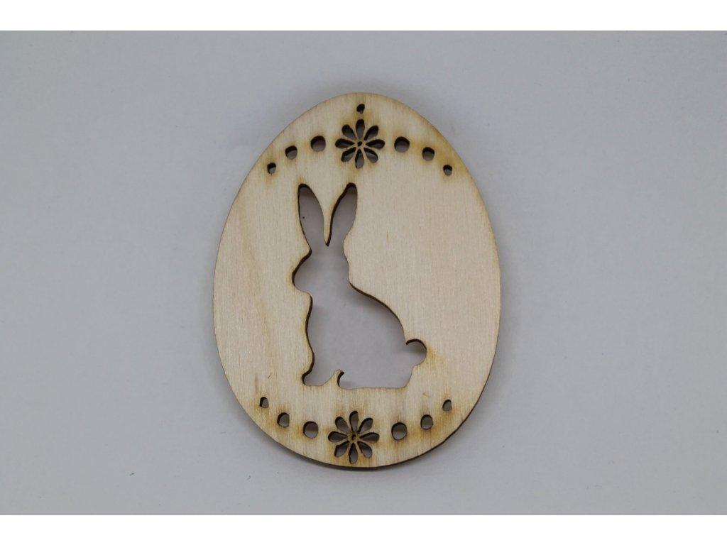 Drevený výrez vajíčko so zajačikom a kvetinkou