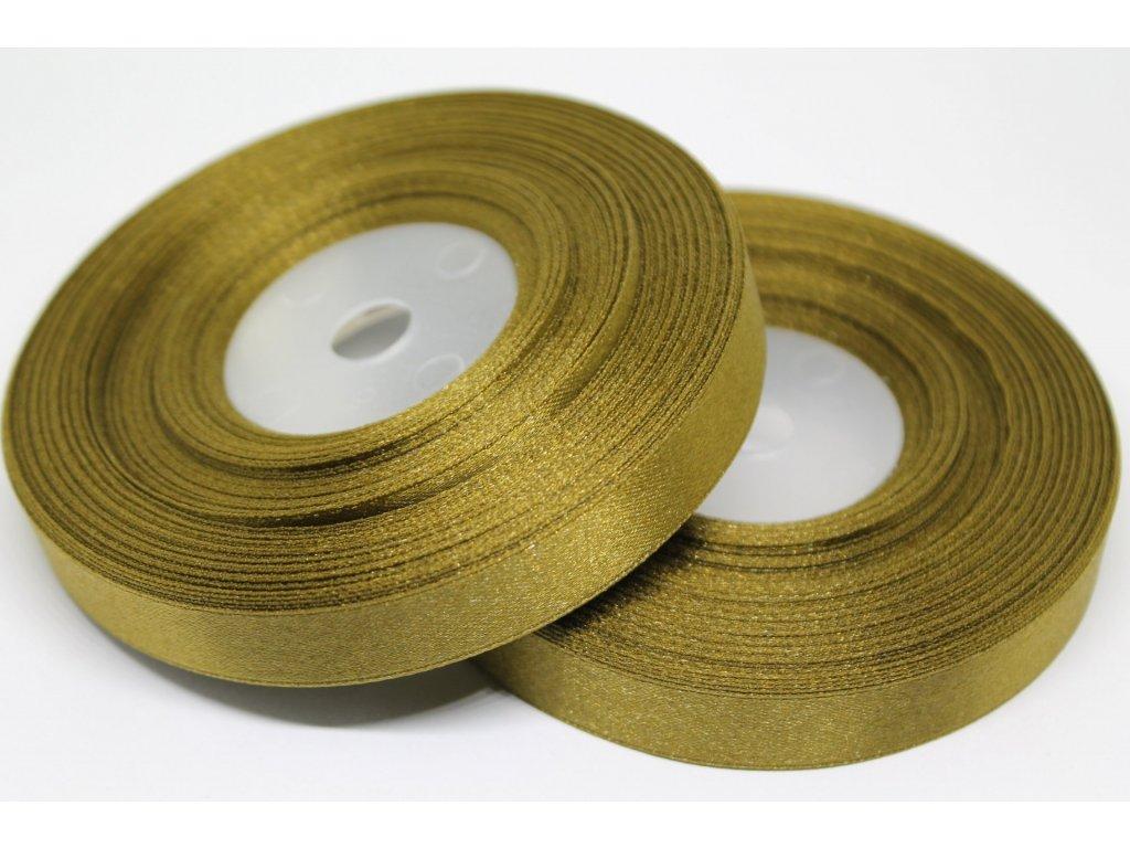 Saténová stuha 12mm A028 bronzovo zelená