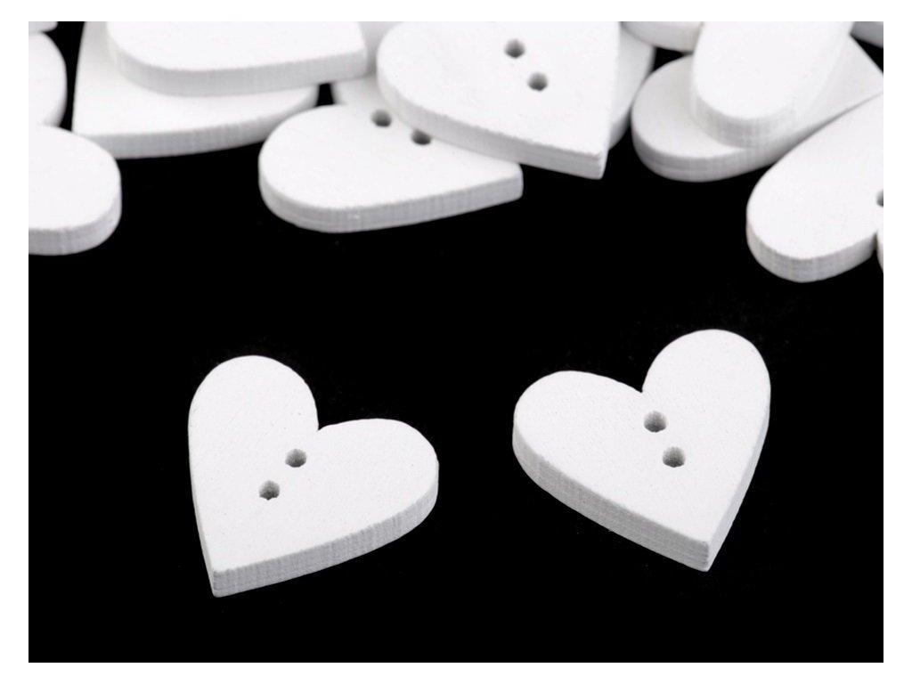 Drevený gombík biely srdce