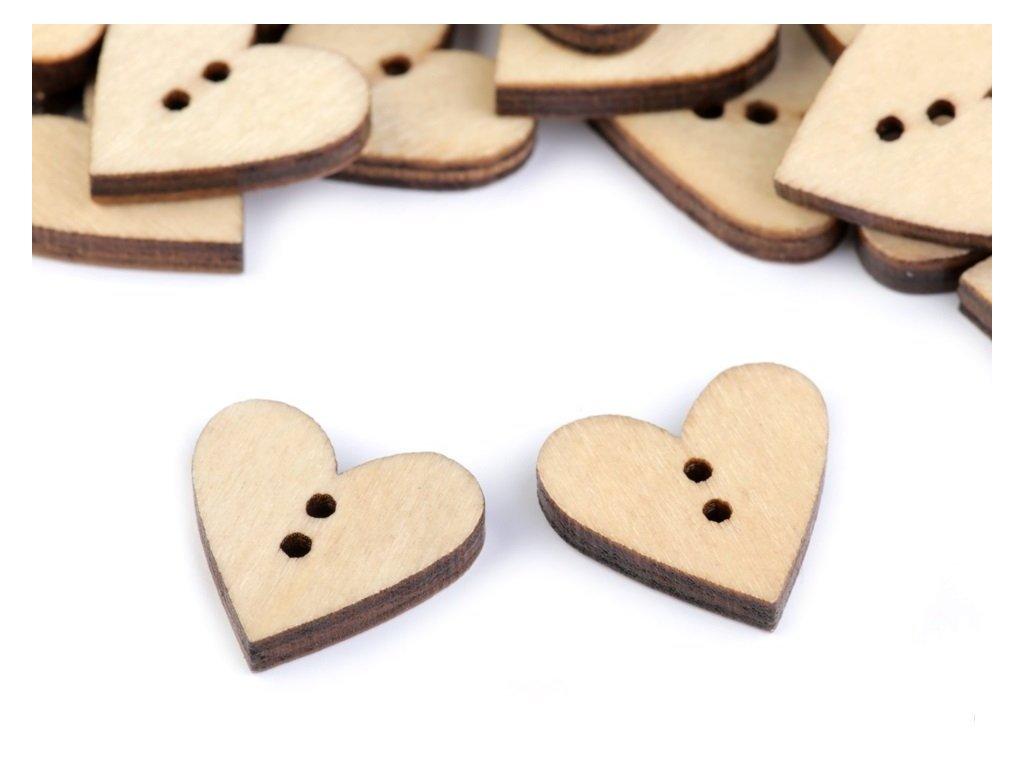 Drevený gombík natur srdce