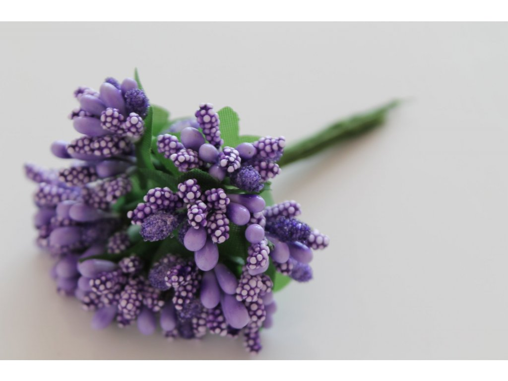 Tyčinky do kvetín s brokátom a zelenými lístkami 075