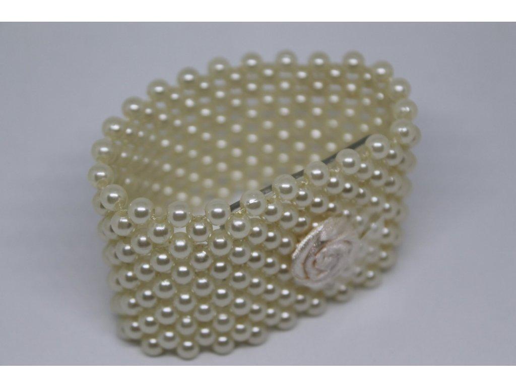 Náramok perličkový krémový 4cm