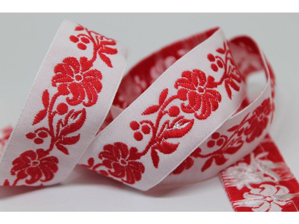 Krojová stuha vyšívaná 22mm bielo-červená