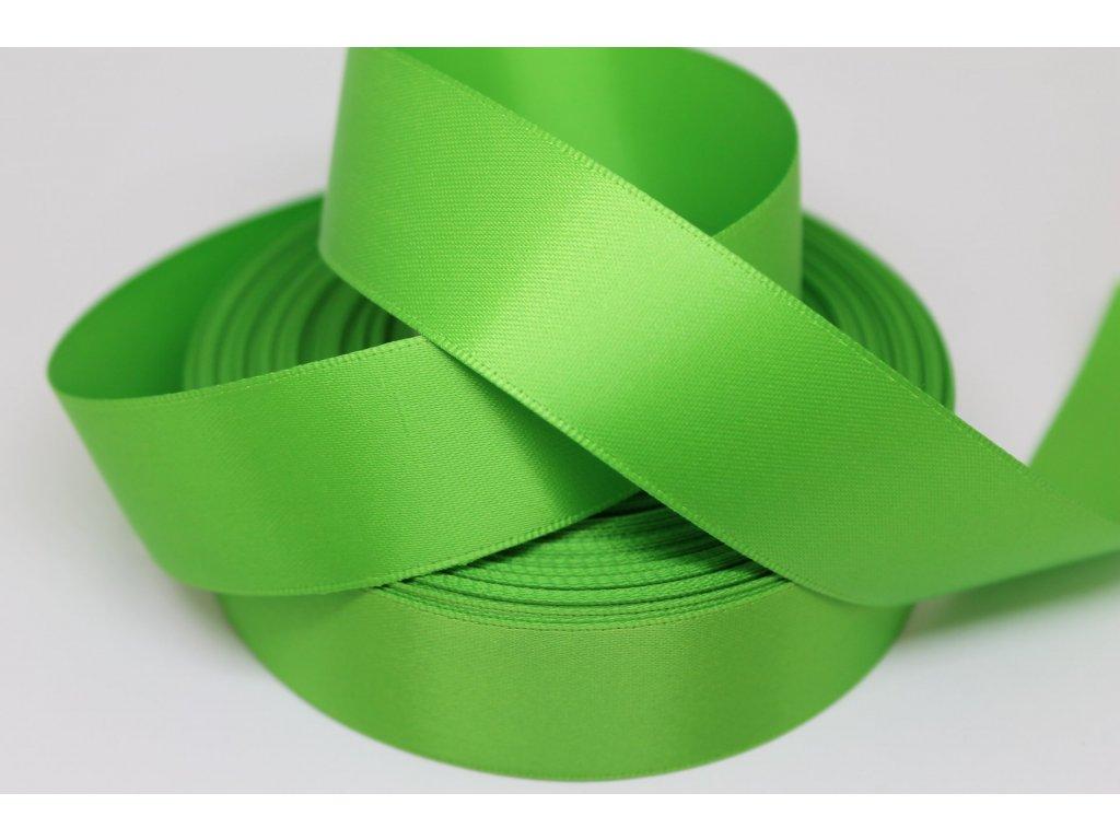 Obojstranná saténová stuha 25mm A022 smaragdová zelená