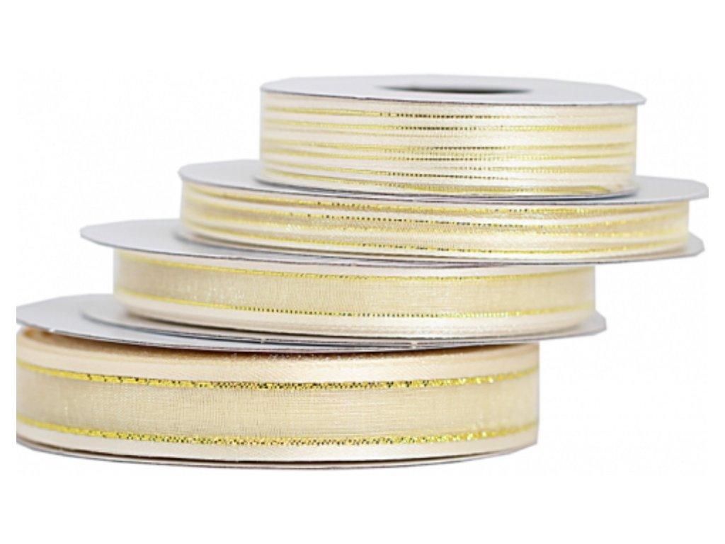 Šifónová stuha 6mm ivory so zlatým lemom