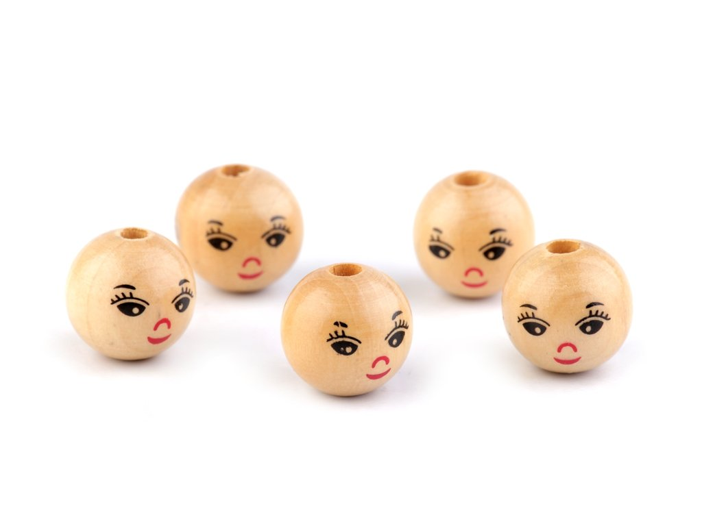 Drevené koráliky s tváričkami Ø18 mm
