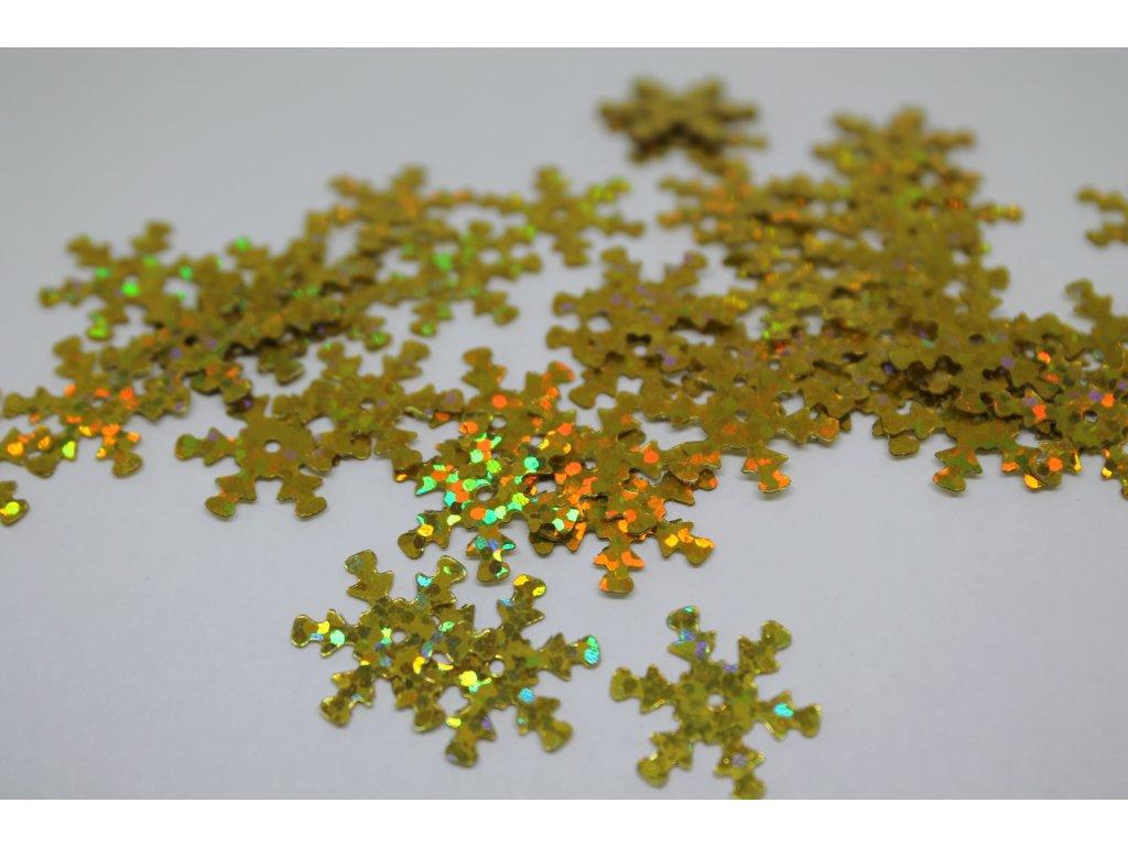 Flitre vločky zlaté s brokátom 15mm/5g