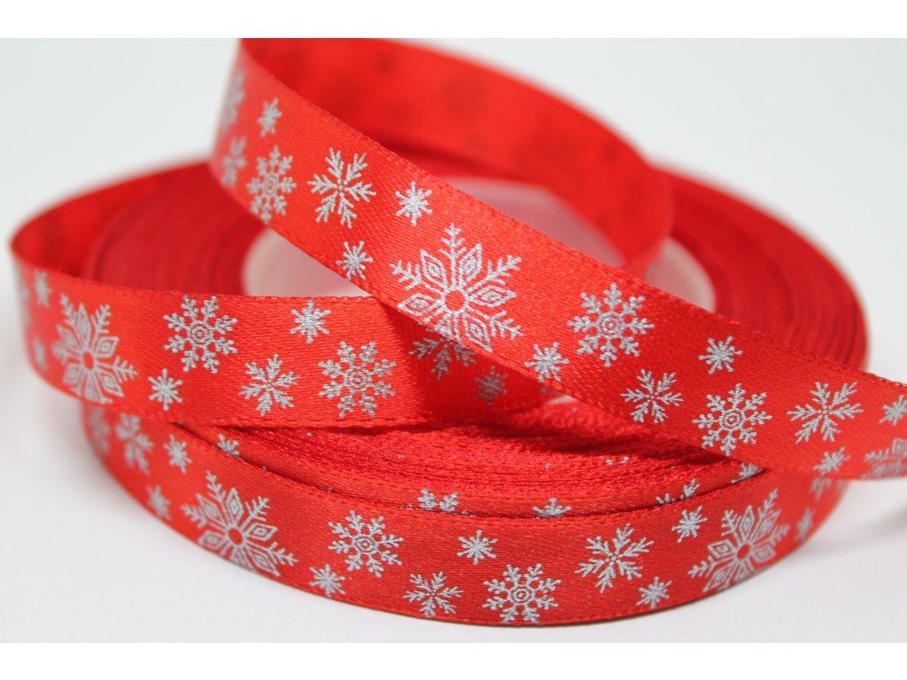 Saténová stuha so striebornými vločkami 12 mm červená