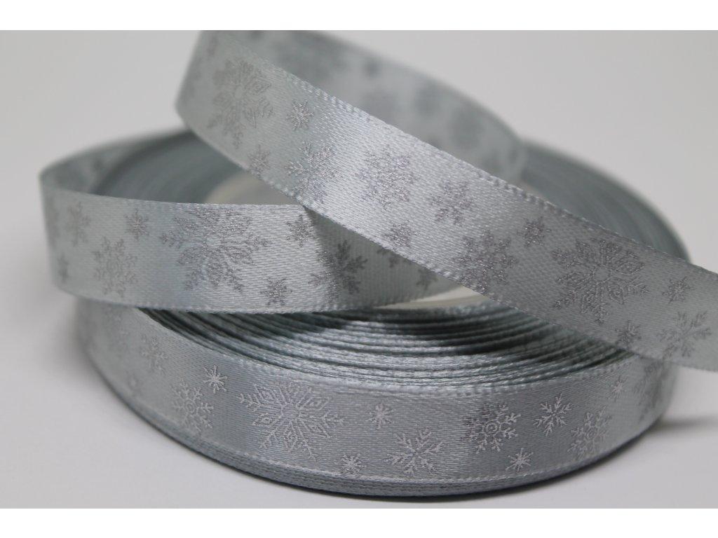 Saténová stuha so striebornými vločkami 12 mm strieborná