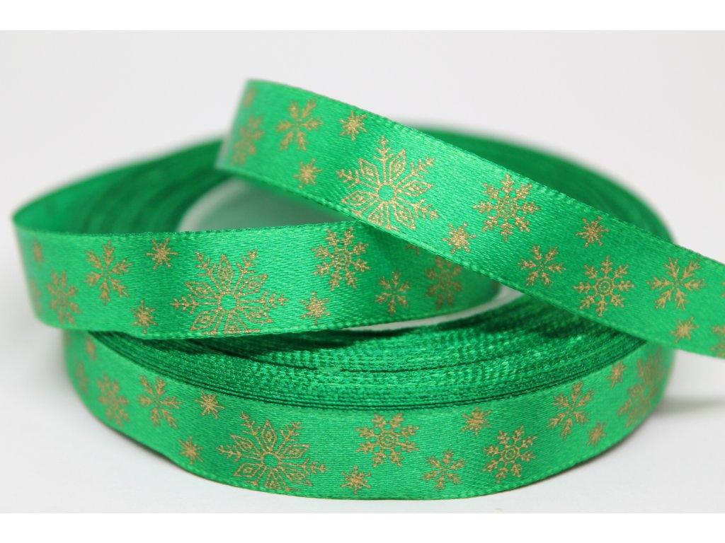 Saténová stuha so zlatými vločkami 12 mm zelená
