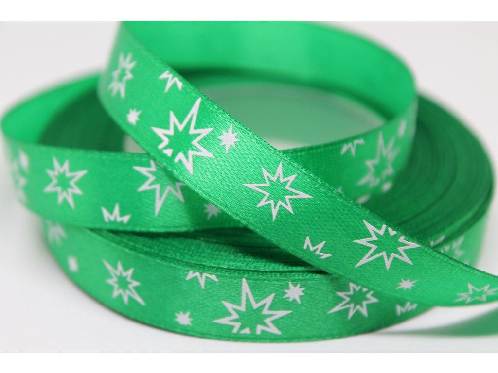 Saténová stuha s bielymi hviezdičkami 12 mm zelená