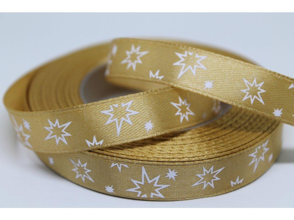 Saténová stuha s bielymi hviezdičkami 12 mm zlatá