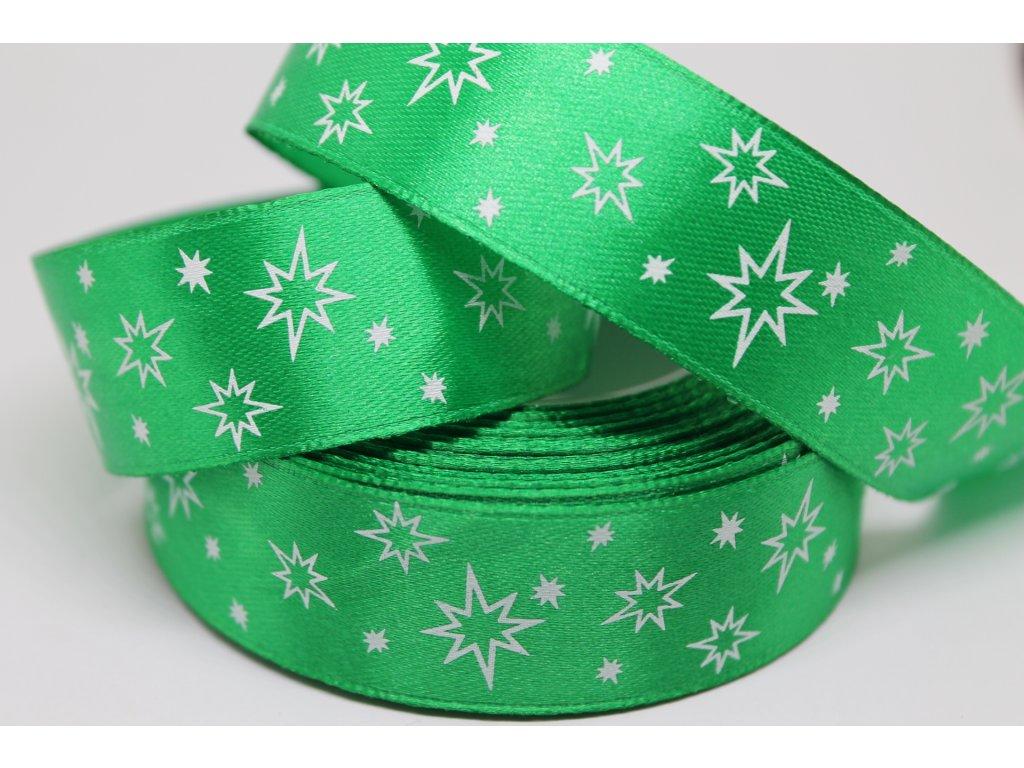 Saténová stuha s bielymi hviezdičkami 25 mm zelená