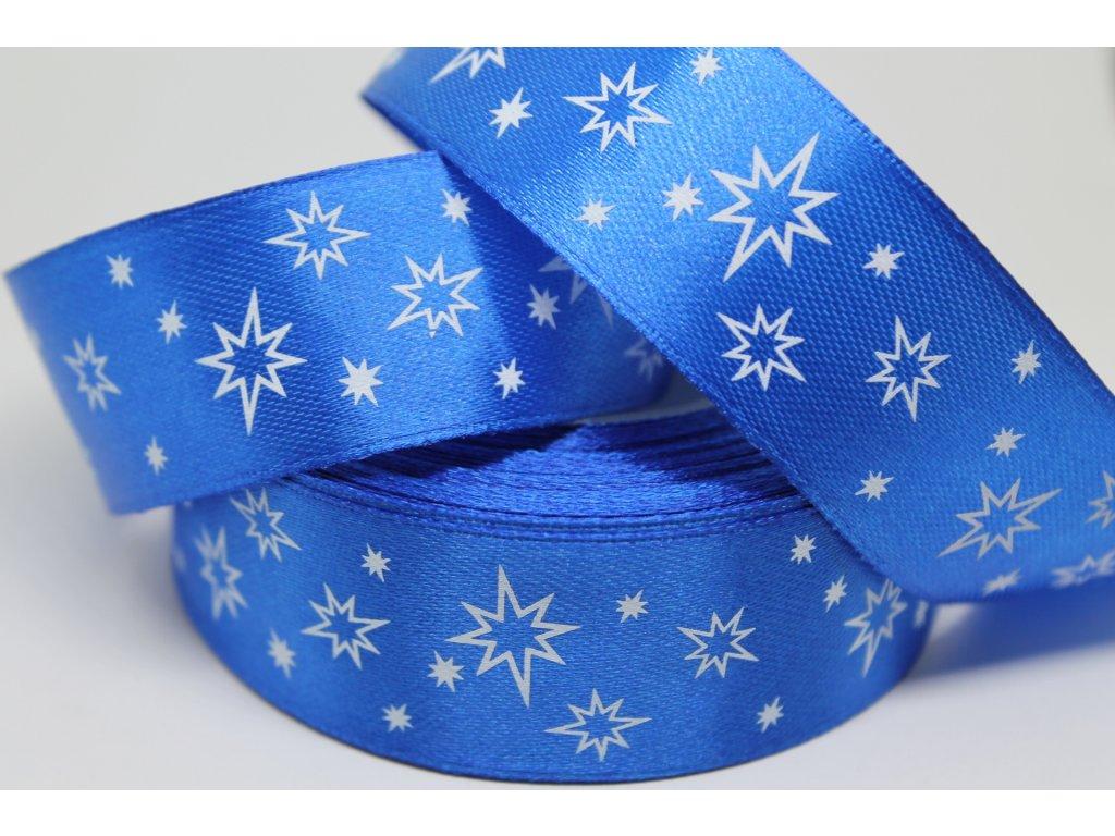 Saténová stuha s bielymi hviezdičkami 25 mm modrá