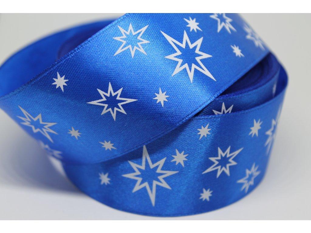 Saténová stuha s bielymi hviezdičkami 38 mm modrá