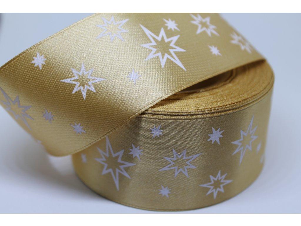 Saténová stuha s bielymi hviezdičkami 38 mm zlatá