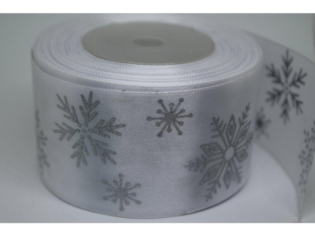 Saténová stuha so striebornými vločkami 50 mm biela