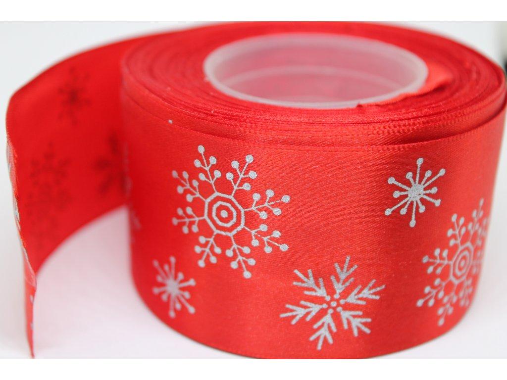 Saténová stuha so striebornými vločkami 50 mm červená