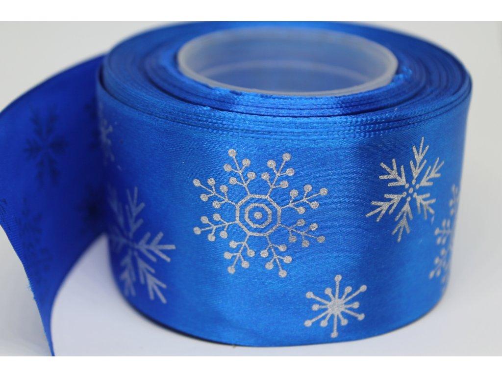 Saténová stuha so striebornými vločkami 50 mm modrá