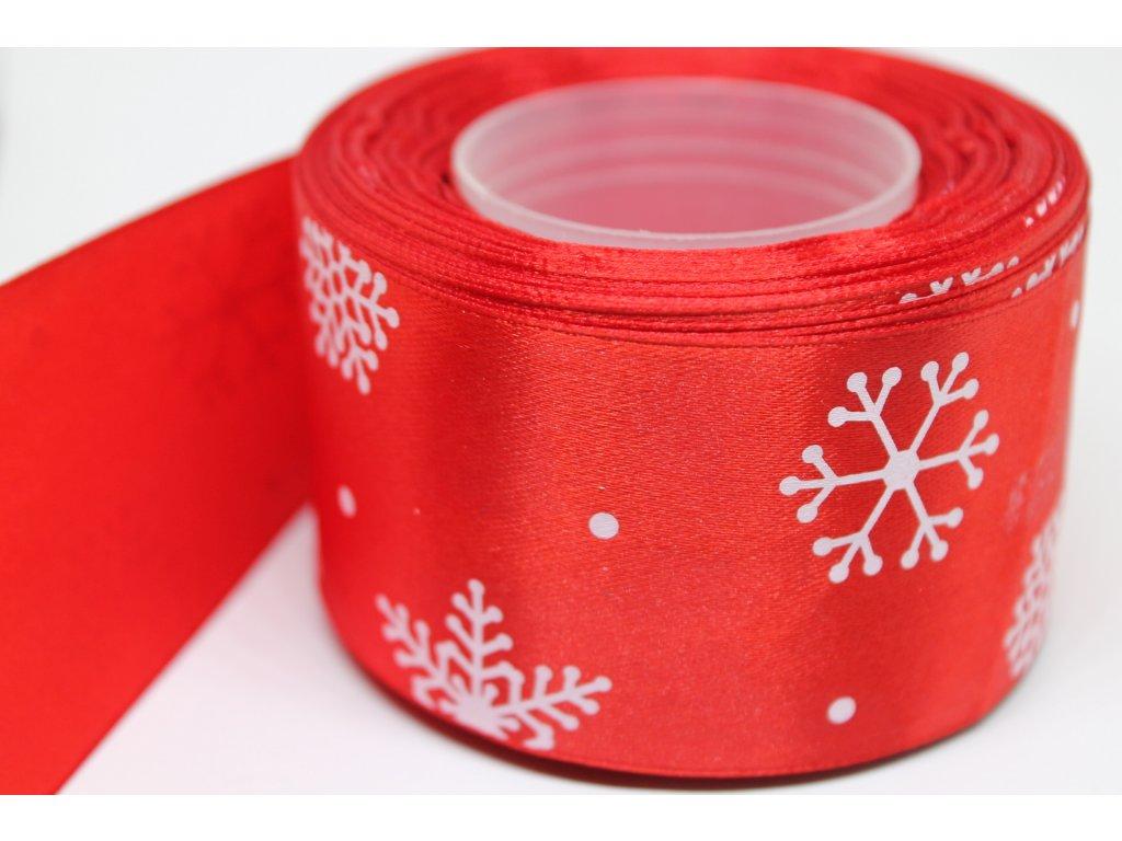 Saténová stuha s bielymi vločkami 50 mm červená
