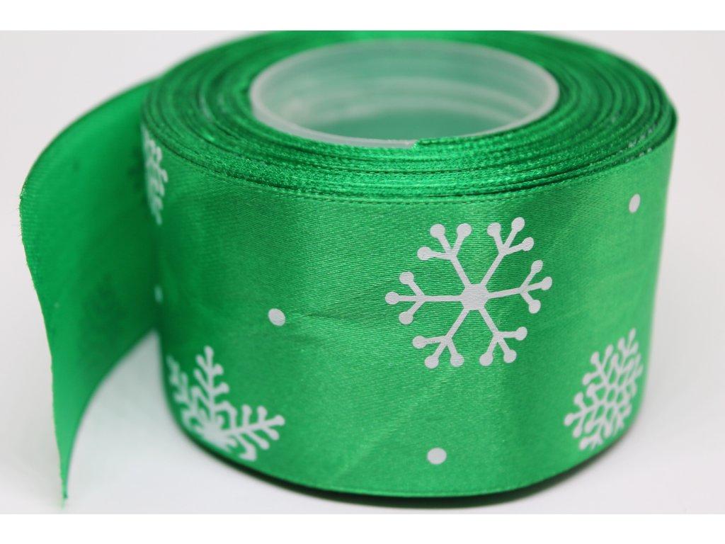 Saténová stuha s bielymi vločkami 50 mm zelená